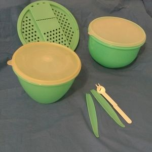 A set of jadite green tupperware.